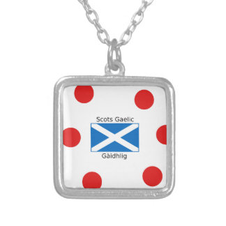 Scotland Flag And Scots Gaelic Language Design Silver Plated Necklace