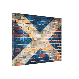Scotland flag on a brick wall canvas print