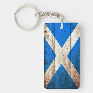 Scotland Flag on Old Wood Grain Keychain