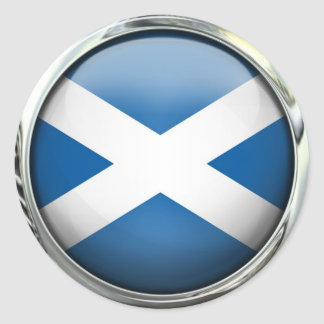Scotland Flag Round Glass Ball Classic Round Sticker