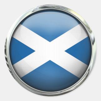 Scotland Flag Round Glass Ball Round Sticker