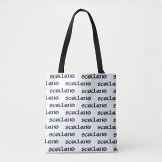 Scotland Medieval Style Calligraphy, Saltire flags Tote Bag