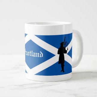 Scotland Piper silhouette/St. Andrews flag Large Coffee Mug