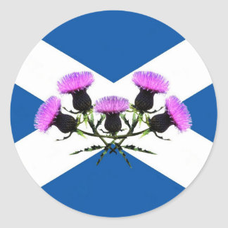 Scotland, St Andrews cross, thistle Classic Round Sticker