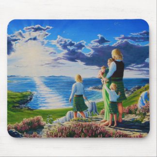 Scotland white man, woman, family in Scottish kilt Mouse Pad