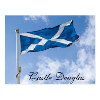 Scotlands Saltire flying high in Castle Douglas. Postcard