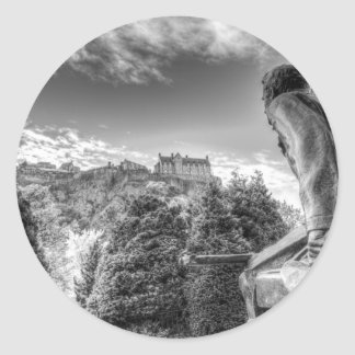 Scots American Memorial And Edinburgh Castle Classic Round Sticker