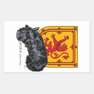 Scots Wha Hae - Scottie & Lion Rampant Rectangular Sticker