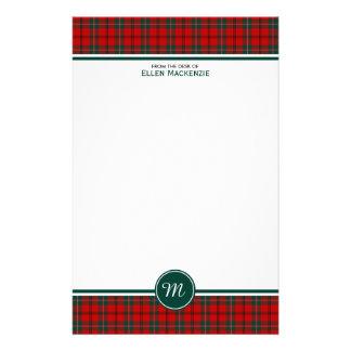 Scott Clan Tartan Red and Green Plaid Monogram Stationery