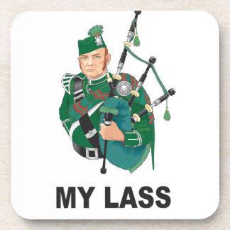 scott with bagpipe beverage coasters