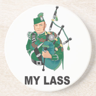 scott with bagpipe drink coasters