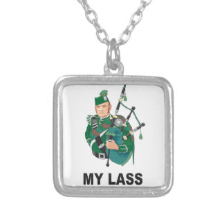 scott with bagpipe silver plated necklace