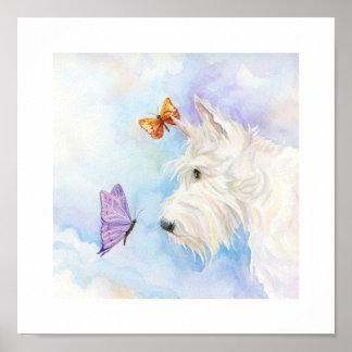 "Scottie and butterflies, 10"" x 10"" print"