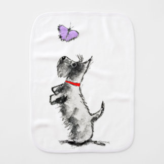 SCOTTIE AND BUTTERFLY BURP CLOTH