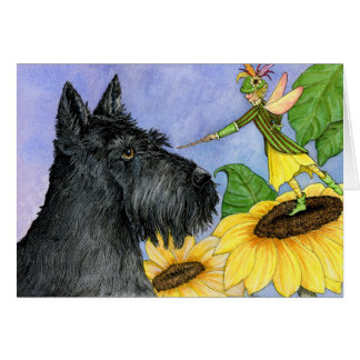 Scottie and the sunflower fairy card