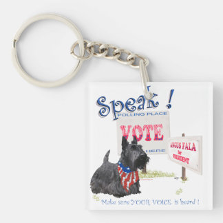 Scottie Angus Fala for President Double-Sided Square Acrylic Keychain