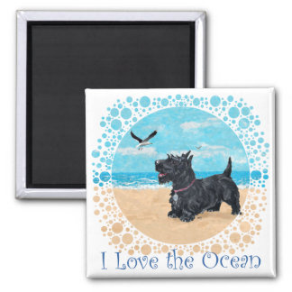 Scottie at the Beach Magnet