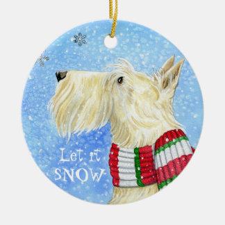 Scottie Christmas Magic Round Ceramic Ornament