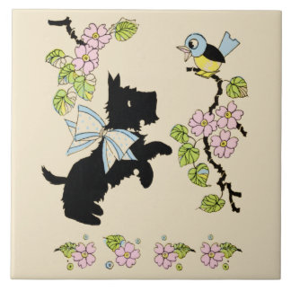 Scottie Dog and Bluebird - 1930s illustration tile