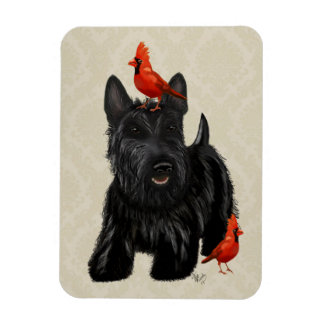 Scottie Dog and Red Birds Magnet