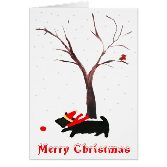 Scottie Dog and Robin Christmas Card