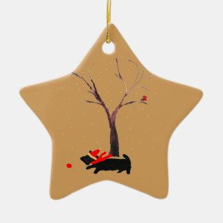 Scottie Dog and Robins Ceramic Ornament
