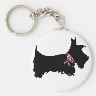 Scottie Dog Basic Round Button Keychain