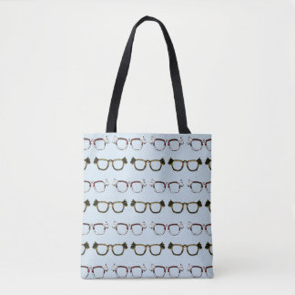 Scottie Dog Glasses Pattern Tote Bag