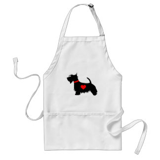 Scottie dog heart apron