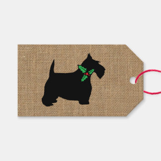 Scottie Dog Holly Burlap Pack Of Gift Tags