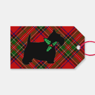 Scottie Dog Holly Plaid Pack Of Gift Tags