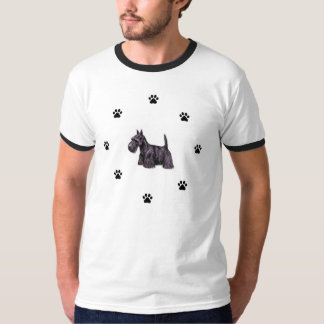 Scottie Dog in Paw Prints Circle T-Shirt