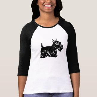 Scottie Dog Ladies 3/4 Sleeve Raglan Top