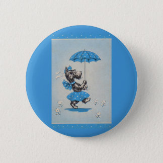 Scottie dog lady carrying umbrella 2 inch round button