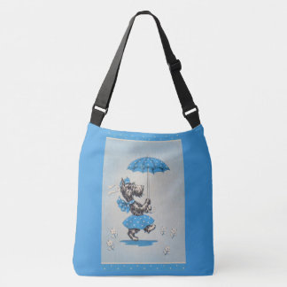 Scottie dog lady carrying umbrella crossbody bag