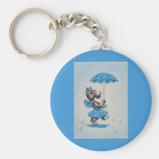 Scottie dog lady carrying umbrella keychain