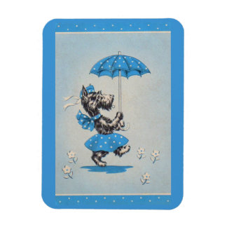 Scottie dog lady carrying umbrella magnet