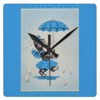 Scottie dog lady carrying umbrella square wall clock
