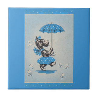 Scottie dog lady carrying umbrella tile
