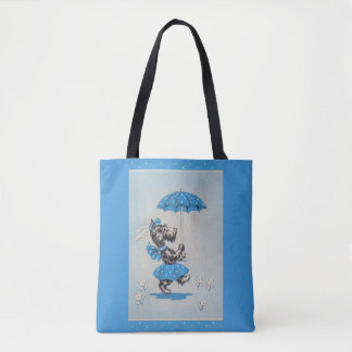 Scottie dog lady carrying umbrella tote bag