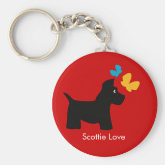 Scottie Dog Love Basic Round Button Keychain