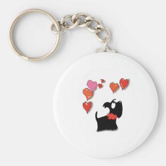 Scottie Dog Love Hearts Basic Round Button Keychain