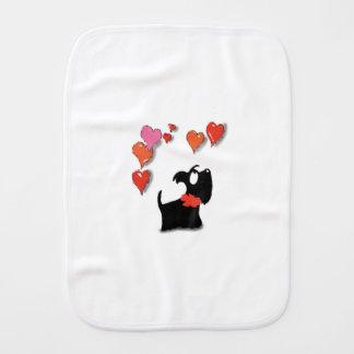 Scottie Dog Love Hearts Burp Cloth