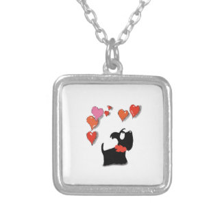 Scottie Dog Love Hearts Silver Plated Necklace