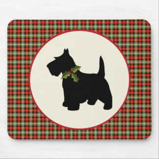Scottie Dog Scotch Plaid Christmas Mouse Pad