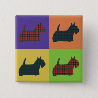 Scottie Dog - Tartan Pop Art Style 2 Inch Square Button