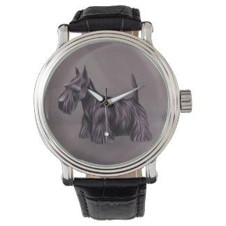 Scottie Dog Vintage Leather Strap Watch