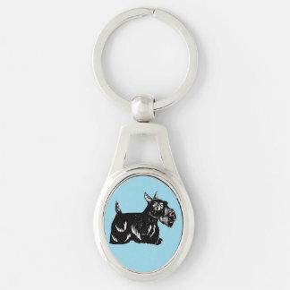 Scottie Dog with Blue Background Oval Keychain
