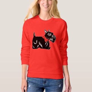 Scottie Dog with Red Bow Women's Raglan Sweatshirt