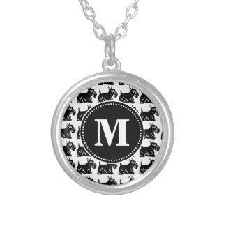 Scottie Dogs Black and White Monogram Necklace